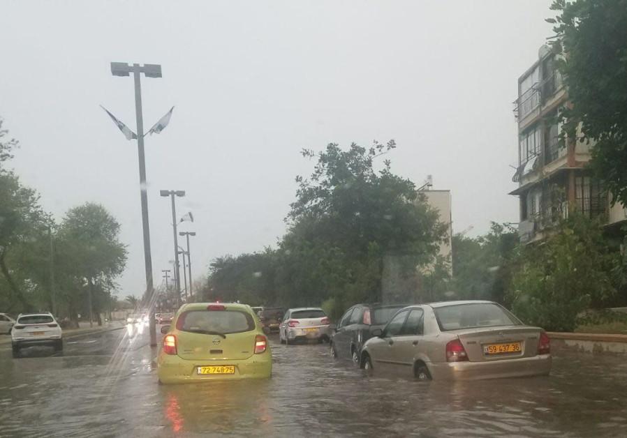 A flooded street in Tel Aviv, April 25, 2018