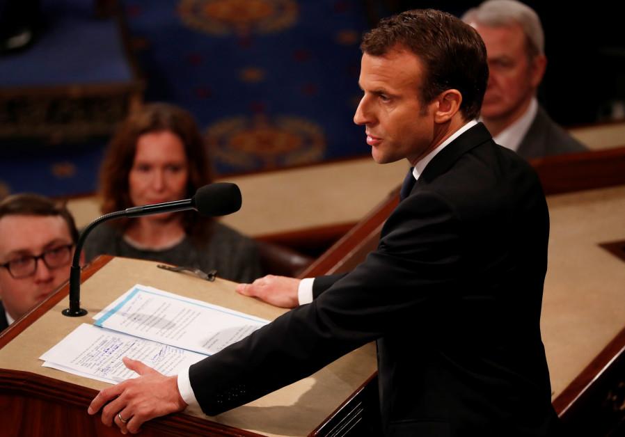 French President Emmanuel Macron addresses a joint meeting of the US Congress in Washington, DC