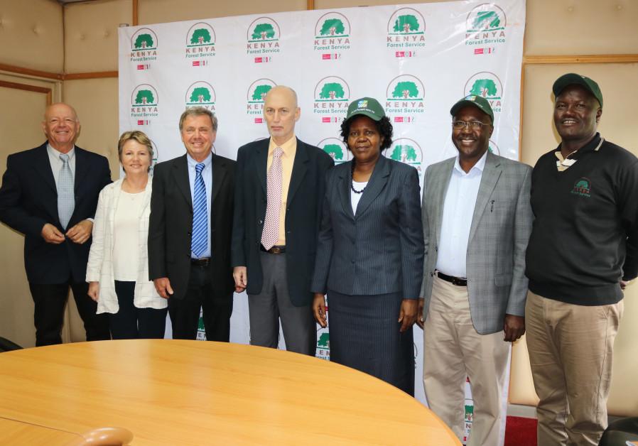 KKL-JNF team and Kenyan Forest Service officials with the Israeli Ambassador to Kenya