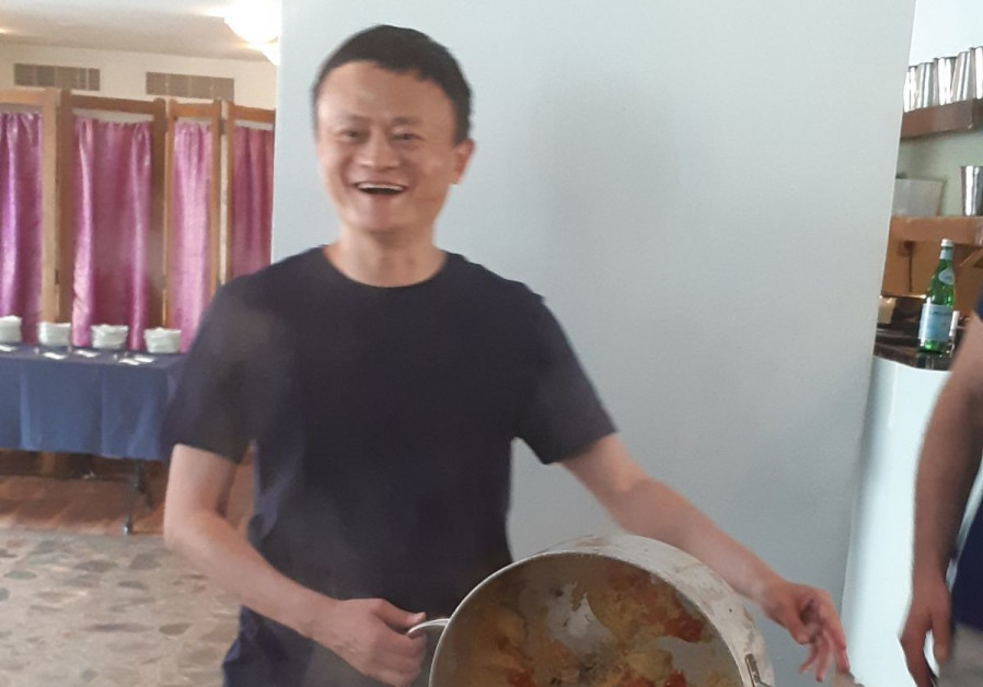 Alibaba chairman Jack Ma cooks up a batch of Mafrum while on a visit in Israel