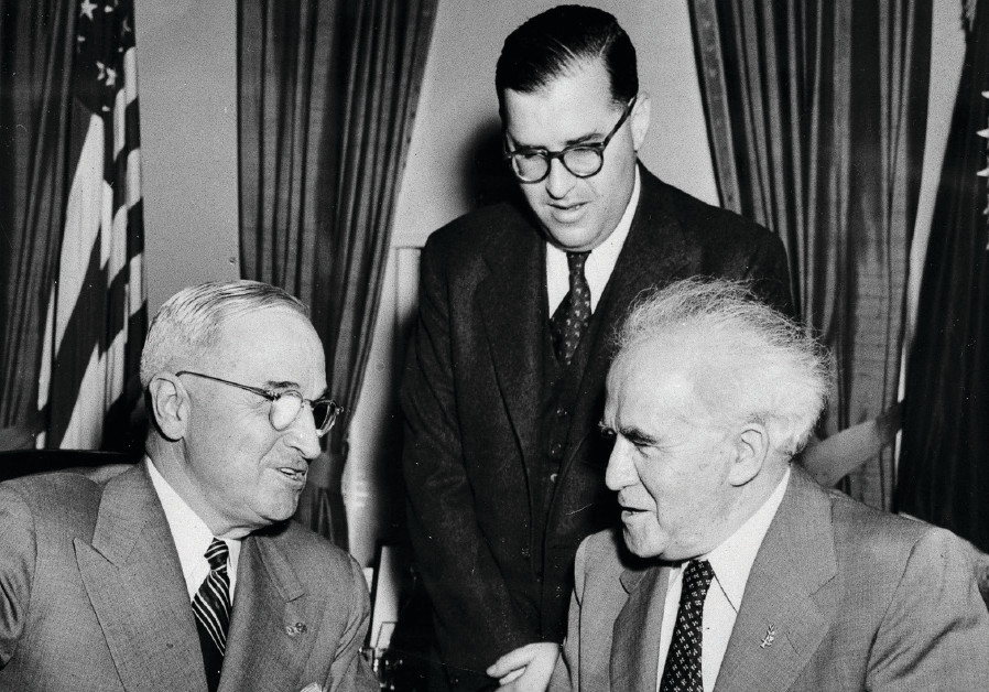 President Harry Truman welcomes prime minister David Ben-Gurion and Israel's ambassador Abba Eban to
