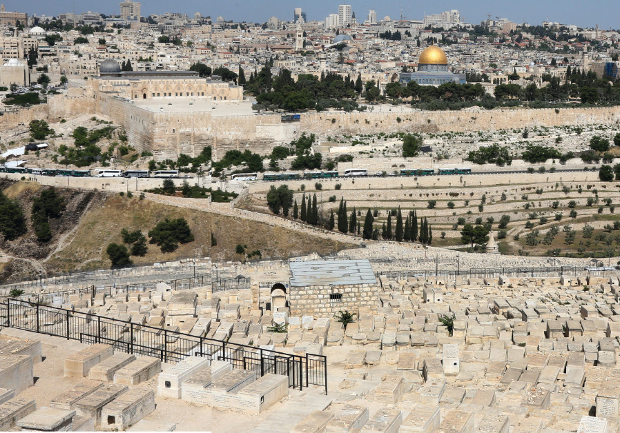 A panoramic view of the Mount of Olives