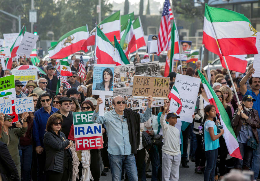 Thousands of people rally in support of Iranian anti-government protests in Los Angeles, California