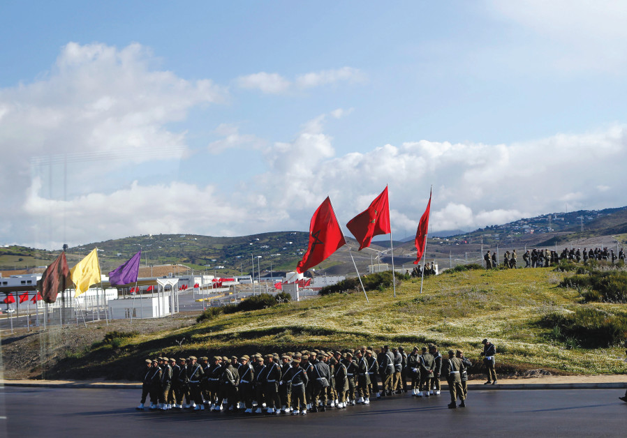 Moroccan soldiers line up on parade grounds, May 2, 2018.