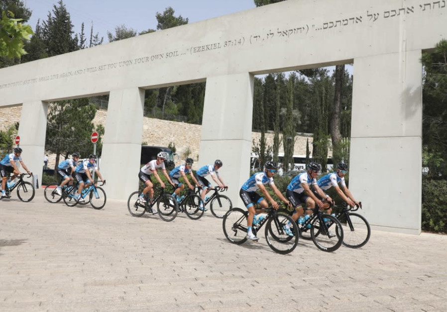 GIRO D'ITALIA cyclists at the entrance to Yad Vashem.