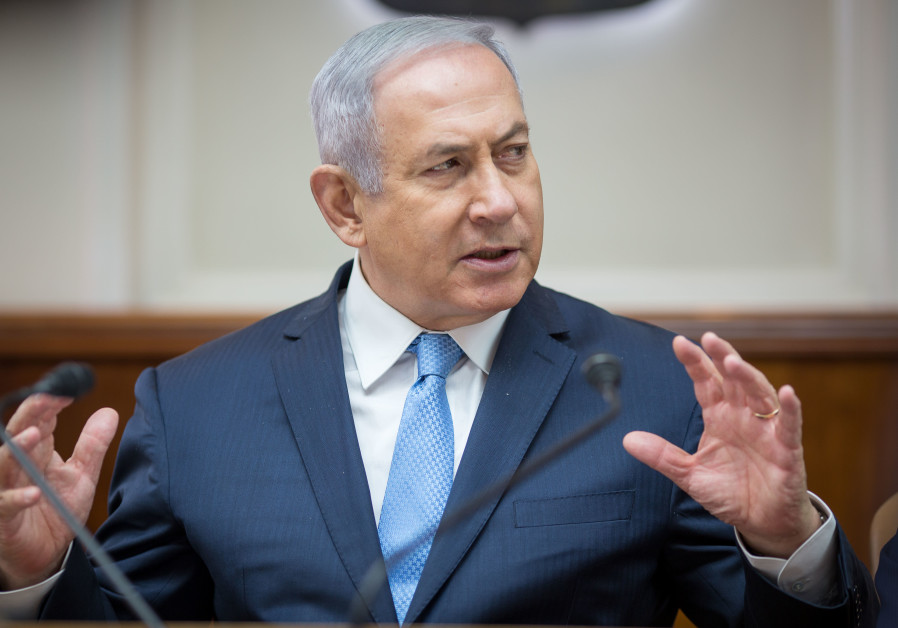 Prime Minister Benjamin Netanyahu at a weekly cabinet meeting, May 6th, 2018.