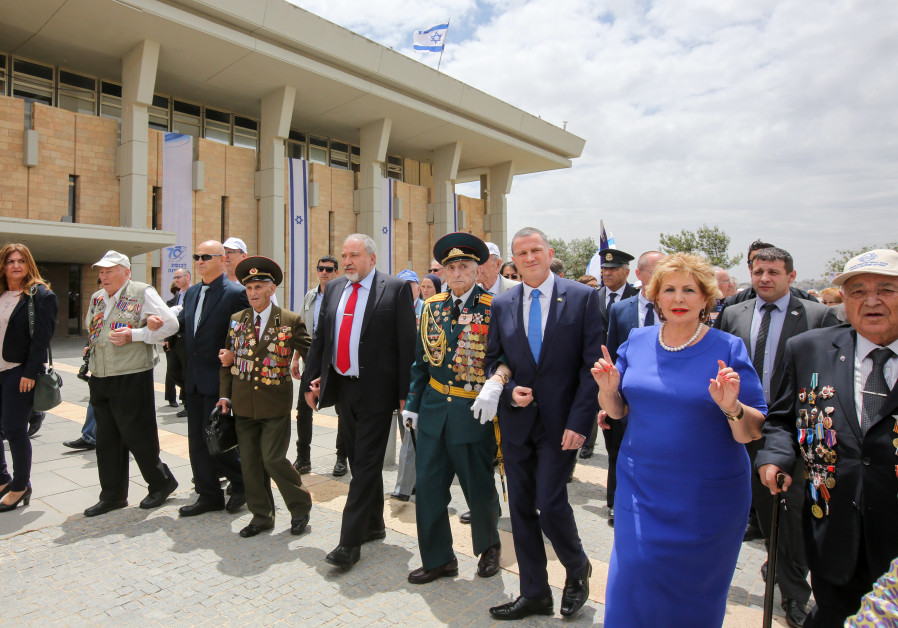 Edelstein, Liberman march with WWII veterans, May 8th, 2018.