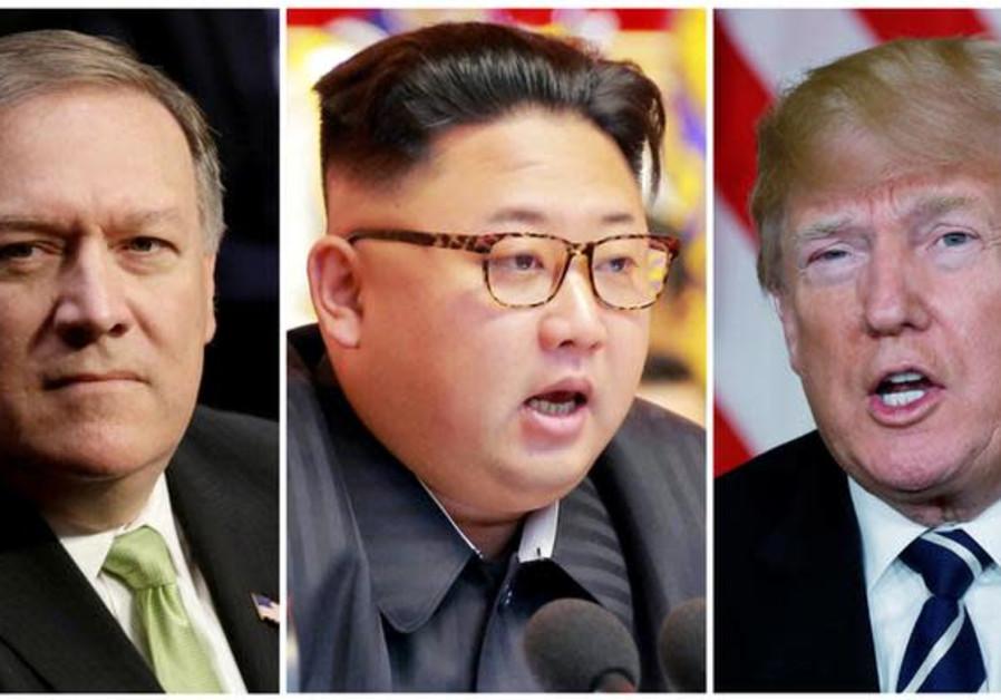 Mike Pompeo (L) , Kim Jong Un (C), and Donald Trump (R)