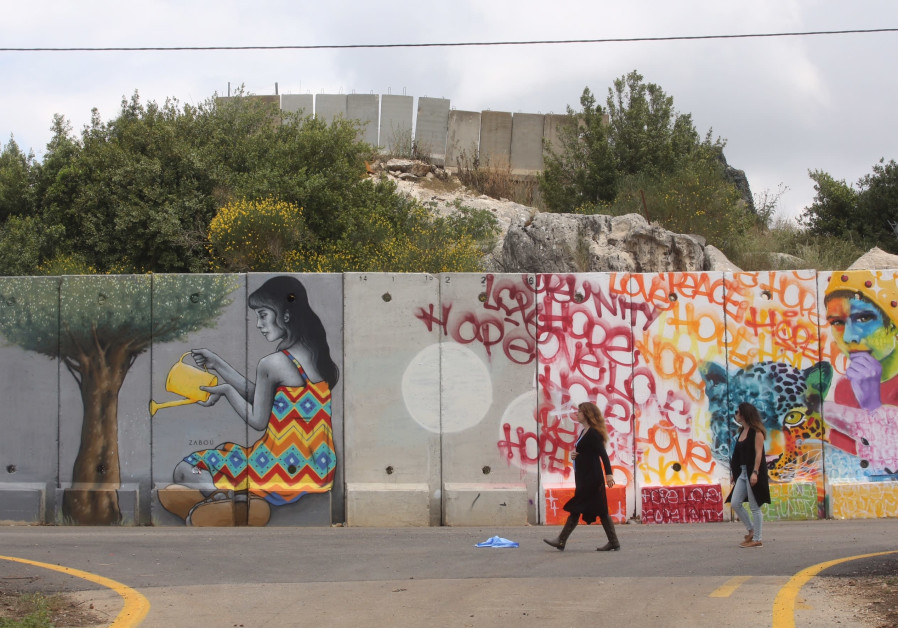 Section of Lebanon-Israel security fence painted by Artists4Israel