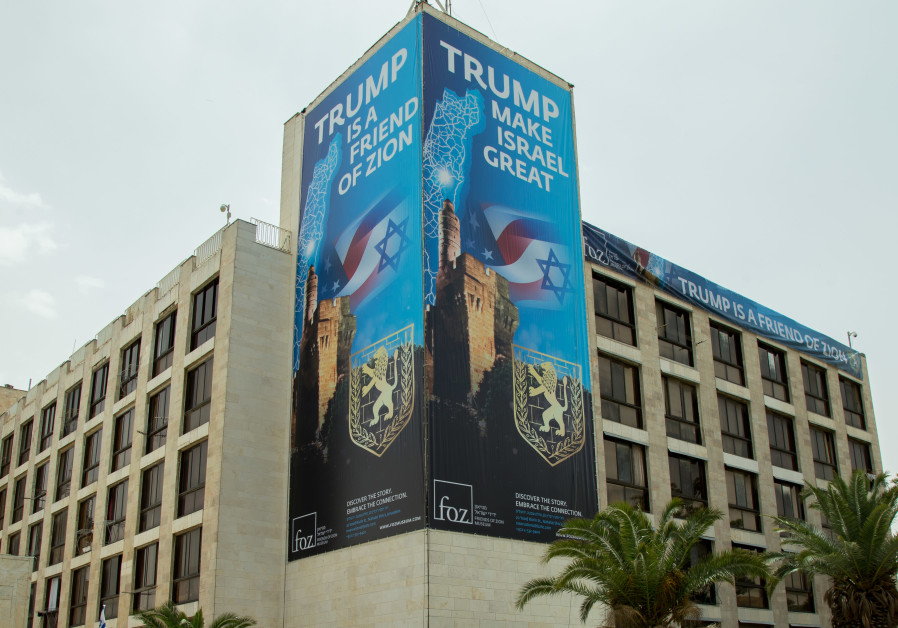 A billboard put up by the Friends of Zion celebrates the moving of the US embassy to Jerusalem
