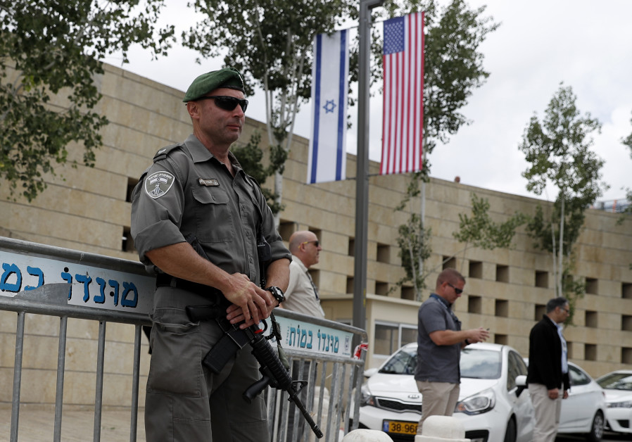Israeli security forces stand guard outside the US consulate in Jerusalem
