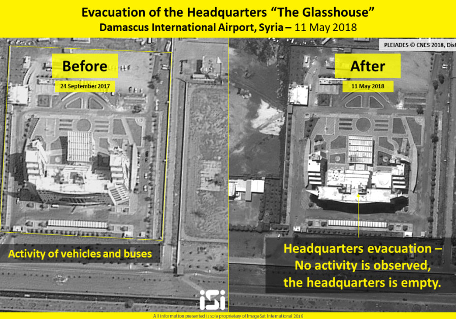 "Evacuation of the headquarters ""the Glasshouse,"" Damascus International Airport, Syria, 11 May 2018,"
