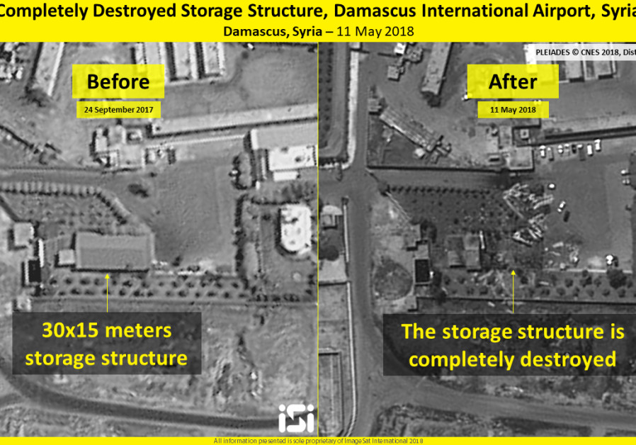 Destroyed storage structure, before and after. Damascus International Airport, Syria, 11 May 2018