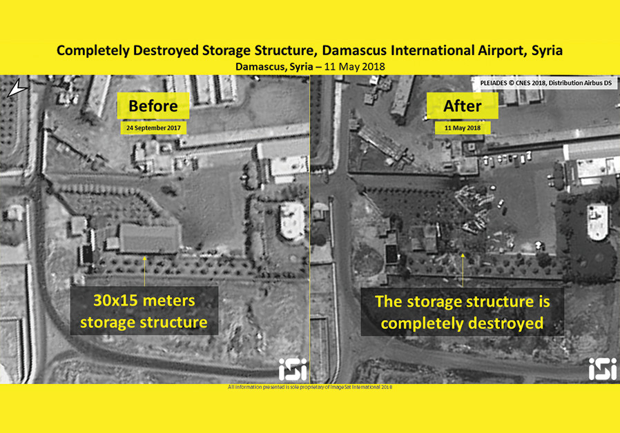 Destroyed storage structure, Damascus International Airport, Syria, 11 May 2018, intelligence analys