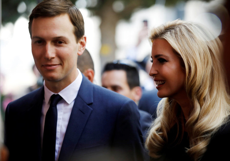 Senior White House Advisers Jared Kushner and Ivanka Trump attend a reception held at the Israeli Mi