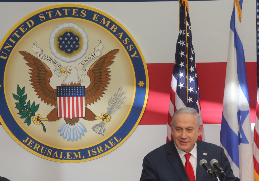 Prime Minister Benjamin Netanyahu speaks at the ceremony for the new US embassy in Jerusalem