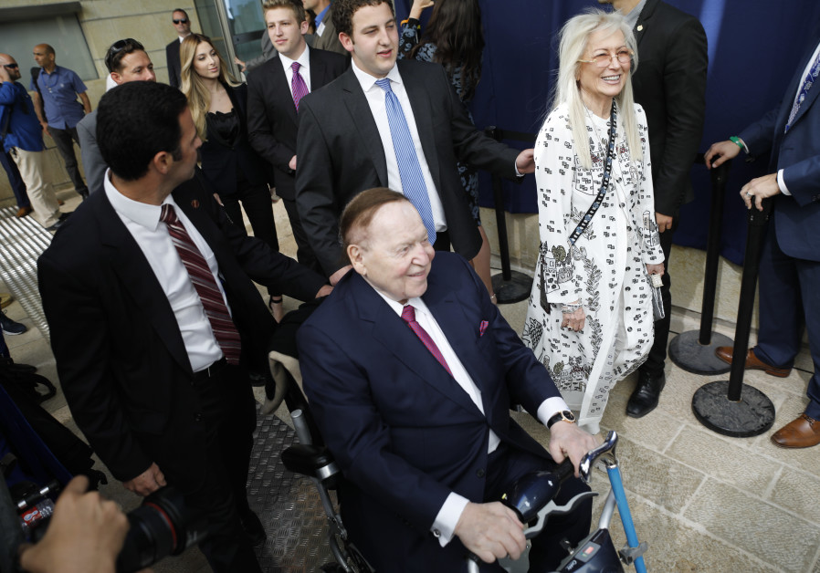 Sheldon and Miriam Adelson at the inauguration of the US embassy in Jerusalem