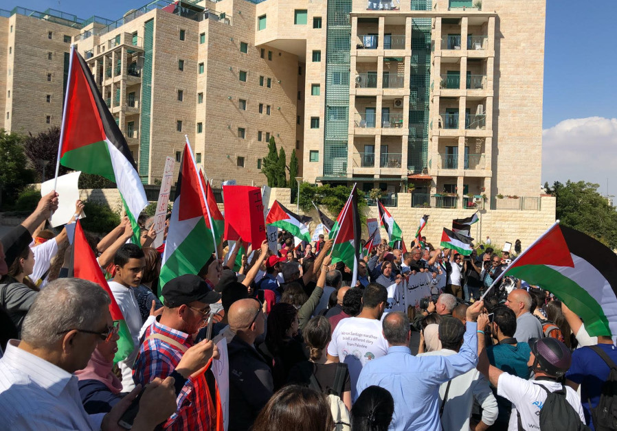 Protests outside the inauguration of the US embassy in Jerusalem, May 14, 2018