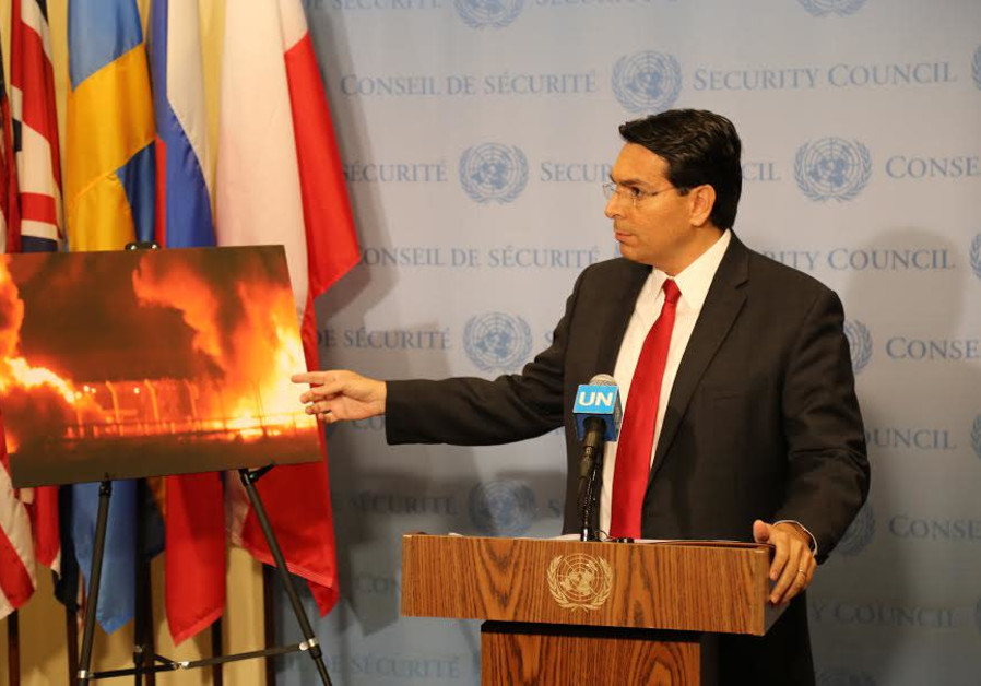 Israeli Ambassador to the UN Danny Danon speaks before a UN Security Council meeting, May 15th, 2018