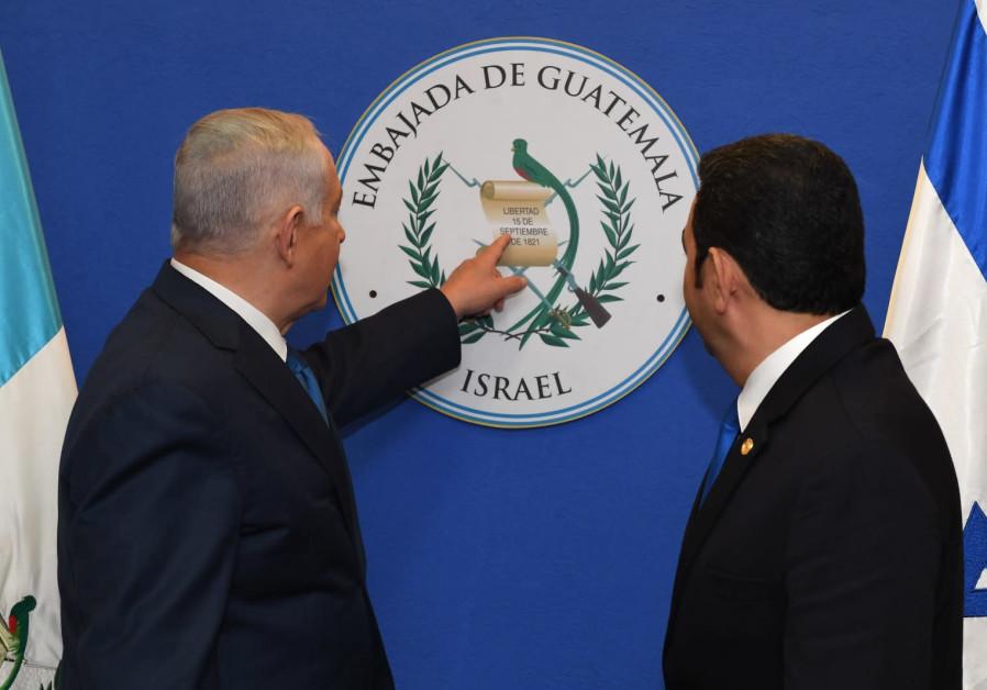 Prime Minister Benjamin Netanyahu with Guatemalan President Jimmy Morales