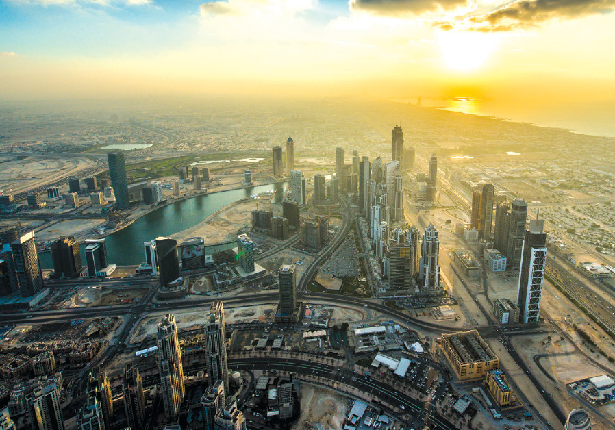 The view of downtown Dubai at sunset from the Burj Khalifa, the world's tallest building rally
