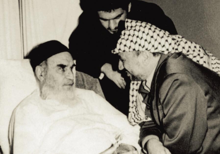 Palestinian president Yasser Arafat and Iran's Ayatollah Khomeini during a meeting in Tehran