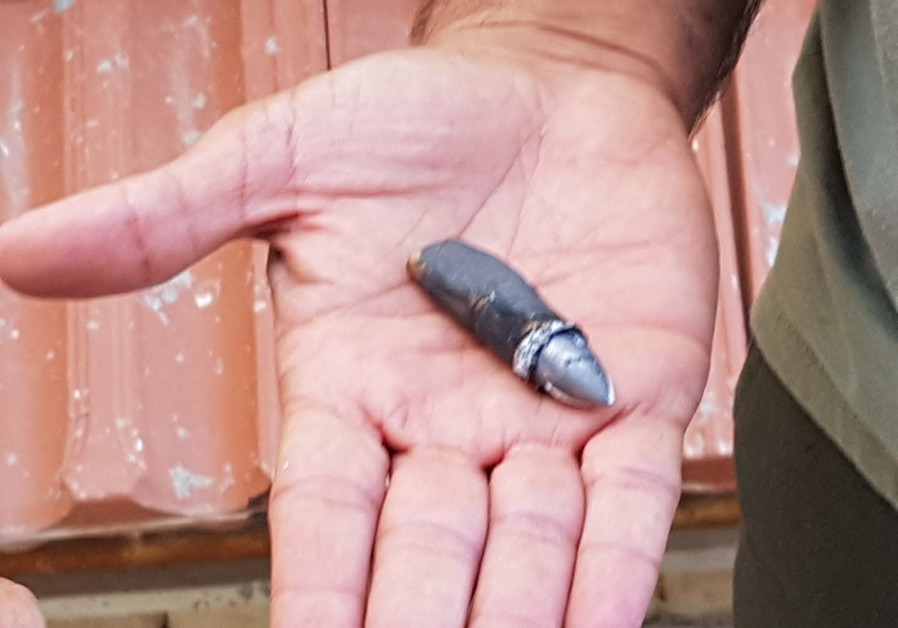 A bullet that was fired into the Israeli town of Sderot on May 16th, 2018. (Credit: Sderot Municipality)