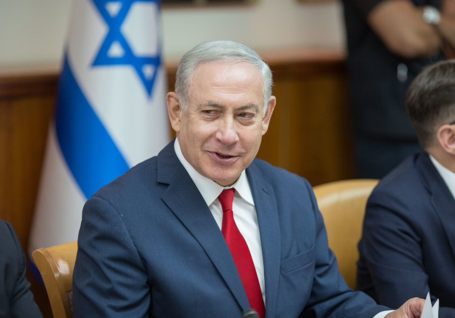 Prime Minister Benjamin Netanyahu at a weekly cabinet meeting