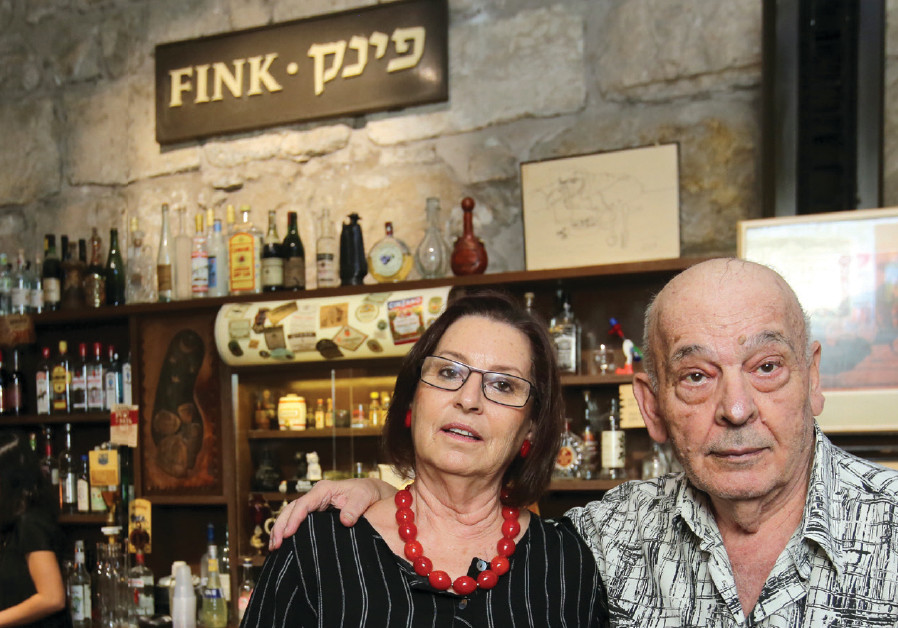 Edna and Muli Azrieli visit the reconstruction of their famous Fink's bar in Jerusalem