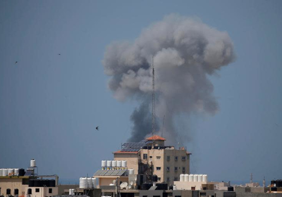 Smoke rises following an Israeli air strike in Gaza May 29, 2018.