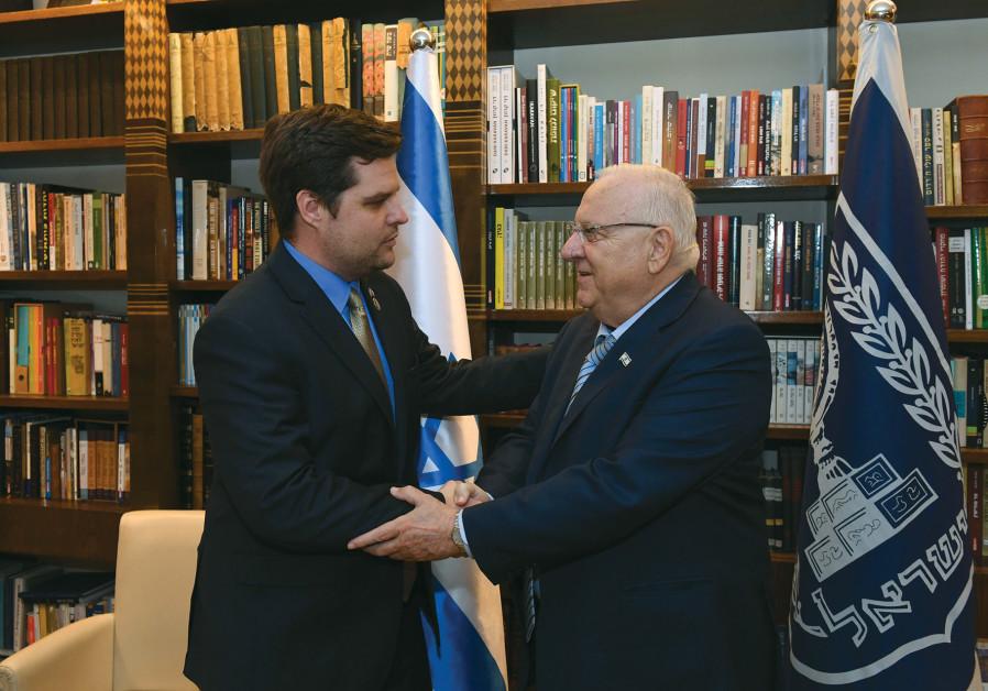 PRESIDENT REUVEN RIVLIN greets Congressman Matthew Gaetz II.
