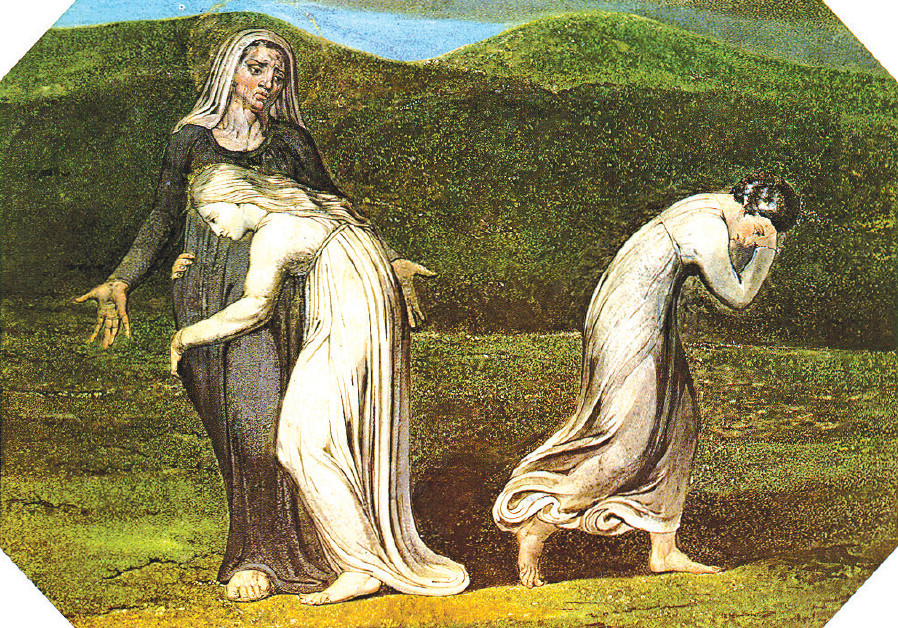 NAOMI ENTREATING [famous convert] Ruth and Orpah to return to the land of Moab, by William Blake, 17