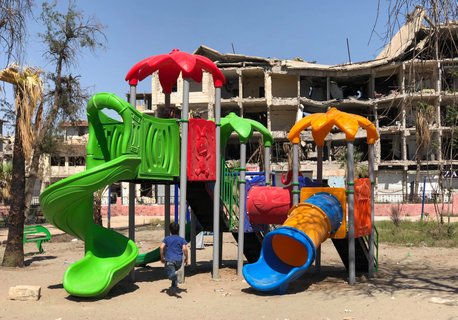 One of the playgrounds in Raqqa donated by the Free Burma Rangers.