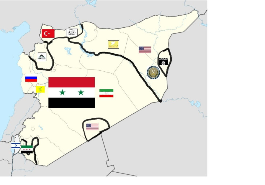 A map of Syria shows the various areas under the influence or control of different countries and groups. In northern Syria in Idlib is Hayat Tahrir al-Sham. Along the Syrian border Turkey and its allies control a corridor stretching to the Euphrates river. In eastern Syria the US, the anti-ISIS coalition and the Syrian Democratic Force have liberated the land from Islamic State control. ISIS only controls a small pocket along the border with Iraq and near the Euphrates river. In southern Syria is another small area of Syrian rebel control and the Tanaf base with the US has influence. Central Syria is controlled by the regime, which is also backed by Russia, Iran and Hezbollah. (Credit: Jerusalem Post Staff)