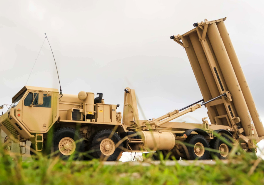 A U.S. Army Terminal High Altitude Area Defense (THAAD) weapon system is seen on Andersen Air Force
