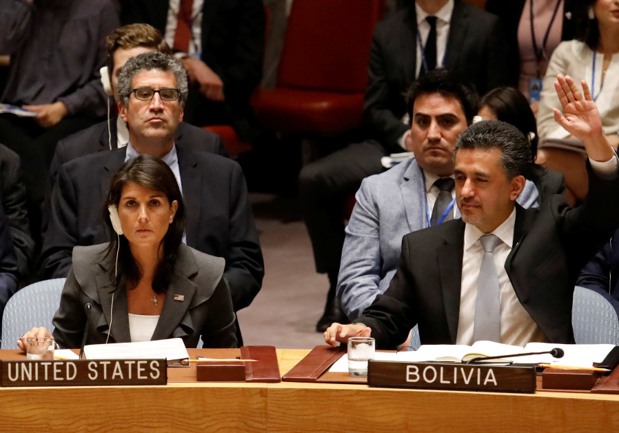 U.S. Ambassador to the United Nations Nikki Haley vetoes a resolution for protection of Palestinians