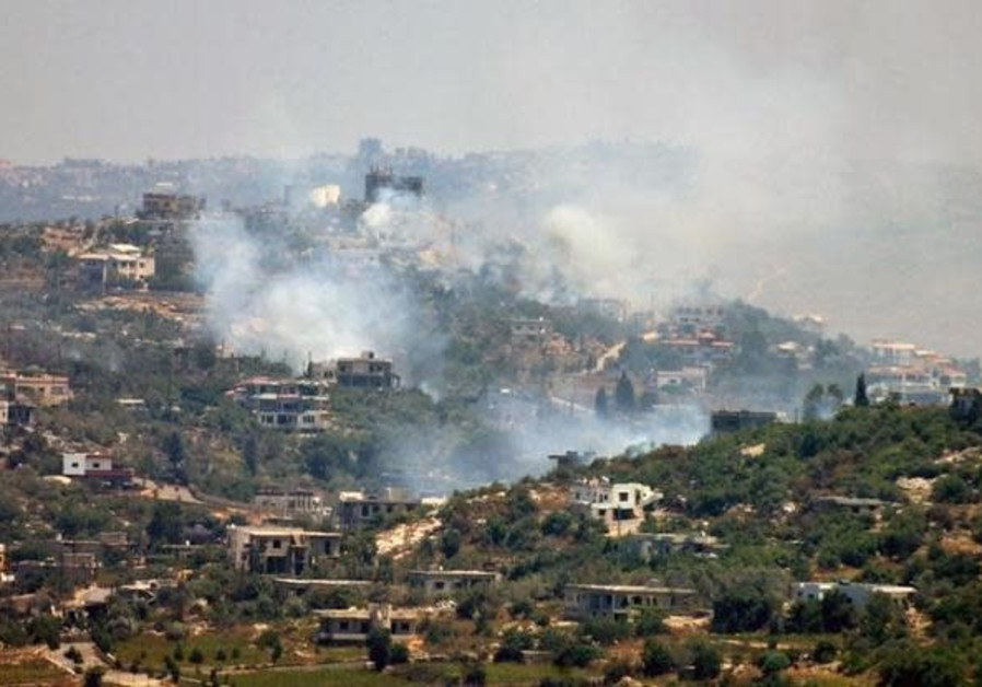 Smoke rises after Israeli artillery shells land in the southern Lebanese village of Aita al-Shaab August 6, 2006, in this picture released August 6, 2006 by the Israeli Defense Forces
