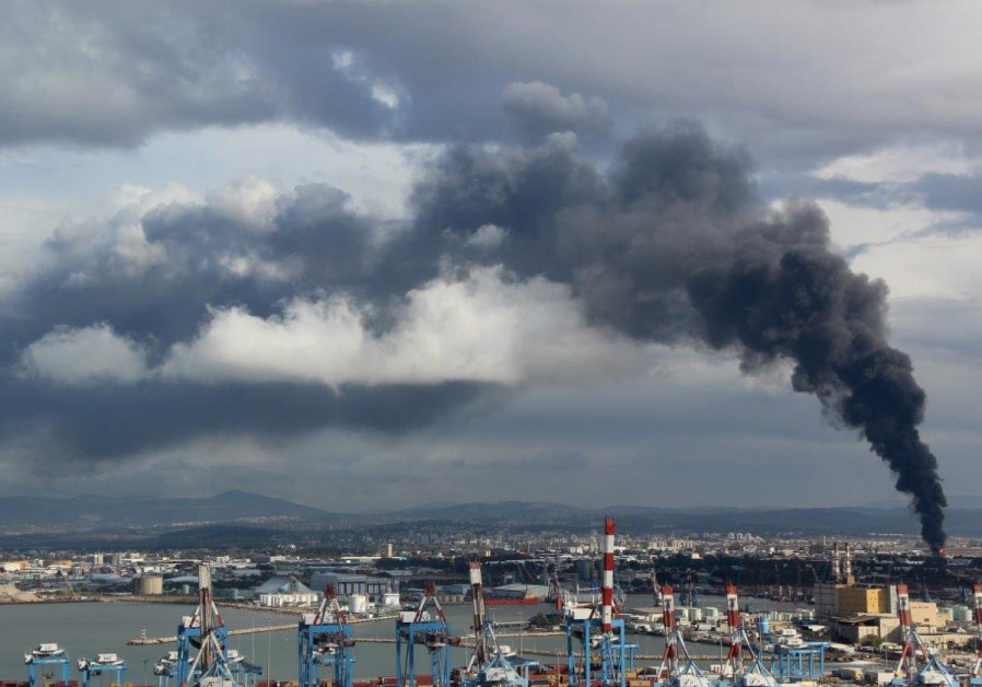 Fires from oil refineries in Haifa