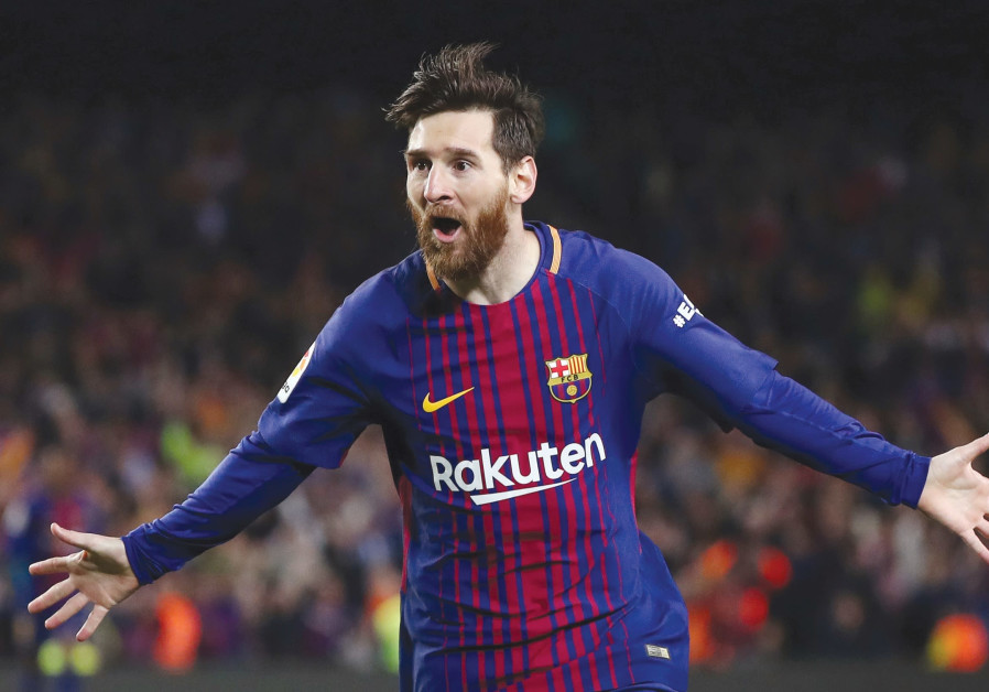 LIONEL MESSI celebrates scoring a second goal in a recent game. This week, he helped the BDS movemen