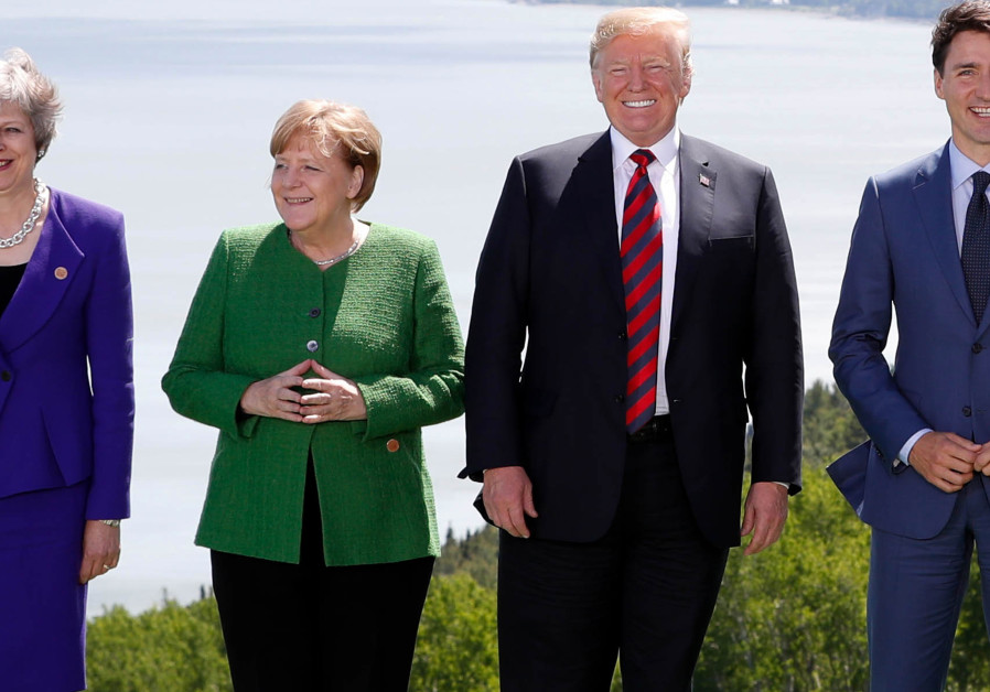 Britain's Prime Minister Theresa May, Germany's Chancellor Angela Merkel, US President Donald Trump
