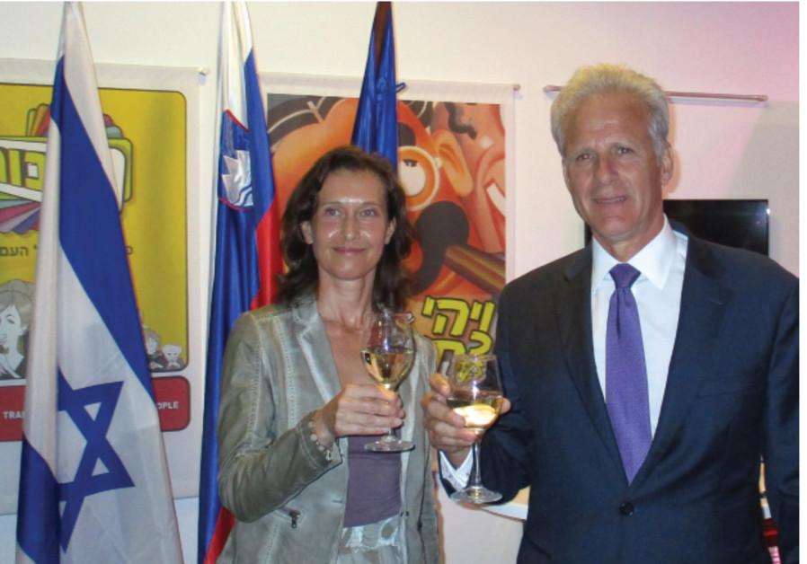 SLOVENIAN AMBASSADOR Barbara Susnik and Deputy Minister for Public Diplomacy Michael Oren