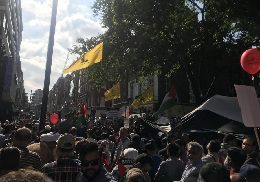 Hezbollah flags at Al-Quds Day March