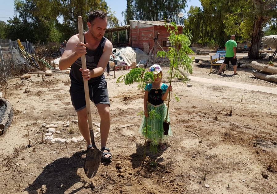 Tree planting event in Kibbutz Nahal Oz on the Gaza Border
