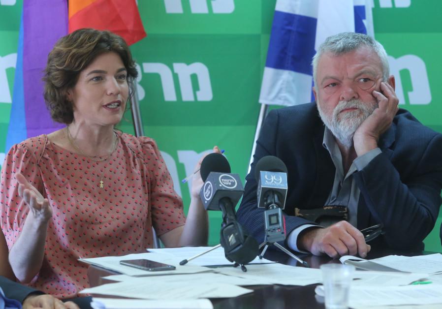 Meretz Chairwoman Tamar Zandberg (L) and MK Ilan Gilon (R) during a faction meeting on June 18th