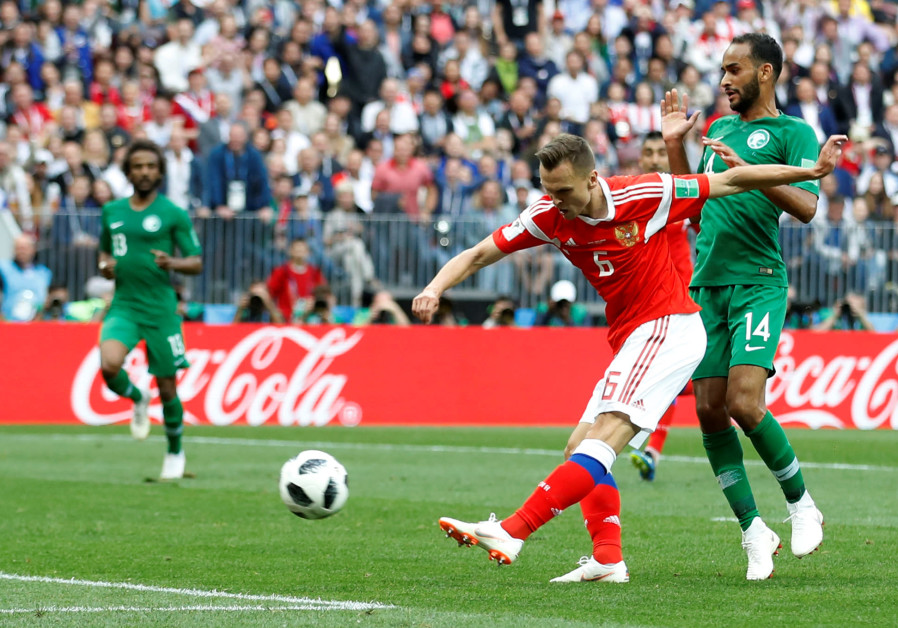 RUSSIA'S DENIS Cheryshev scores their second goal in the the Russia vs Saudi Arabia World Cup match
