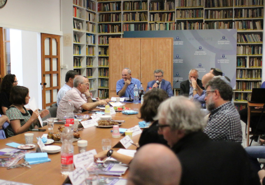 PARTICPANTS IN A roundtable discussion gather this week at the Jerusalem Center for Public Affairs,