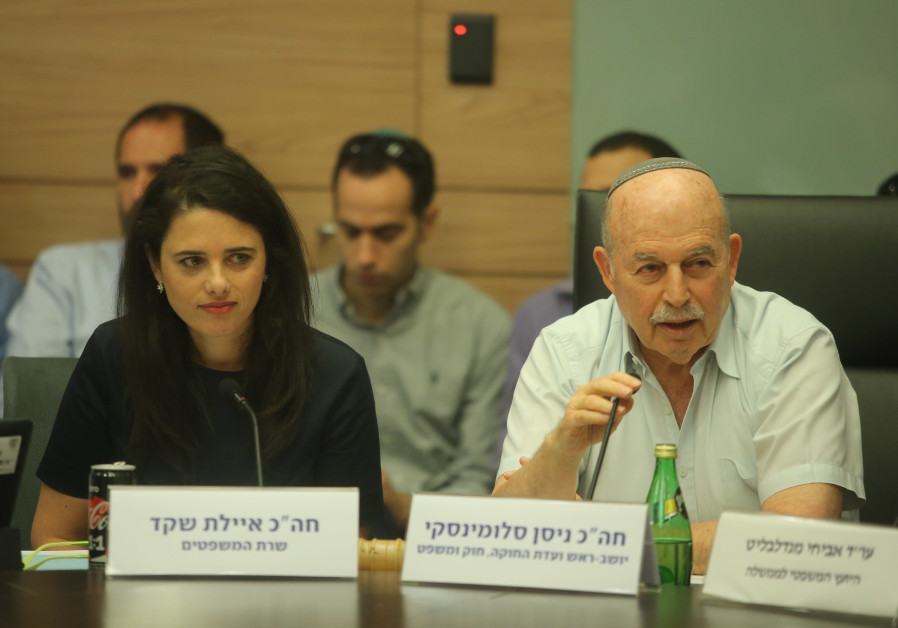 Justice Minister Ayelet Shaked and Knesset Member Nissan Slomiansky debate in a ministerial committe