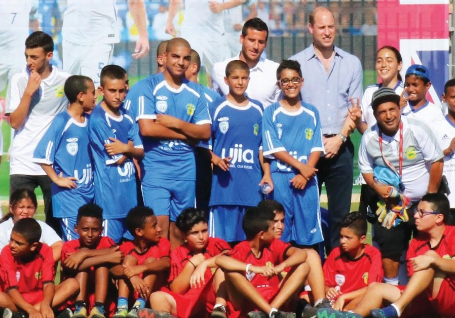 Prince William takes time to play soccer with Israeli and Arab youth