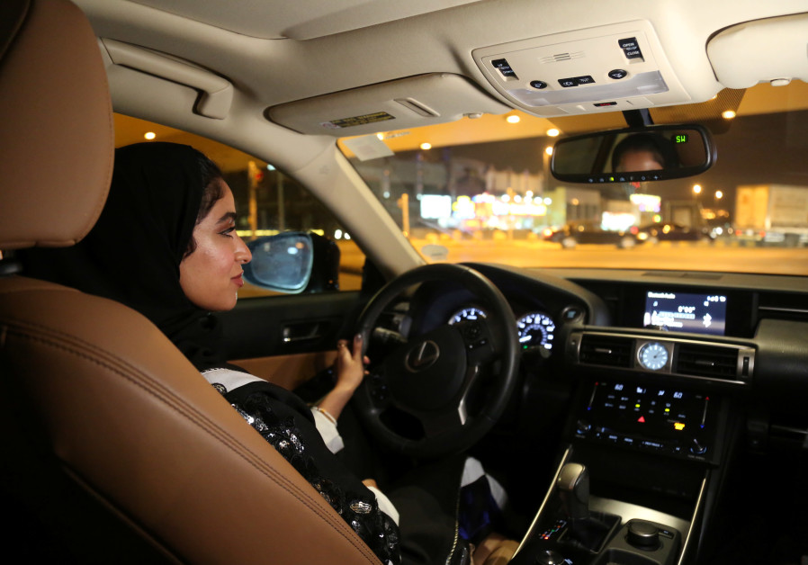 Majdooleen, who is among the first Saudi women allowed to drive in Saudi Arabia, drives her car in h