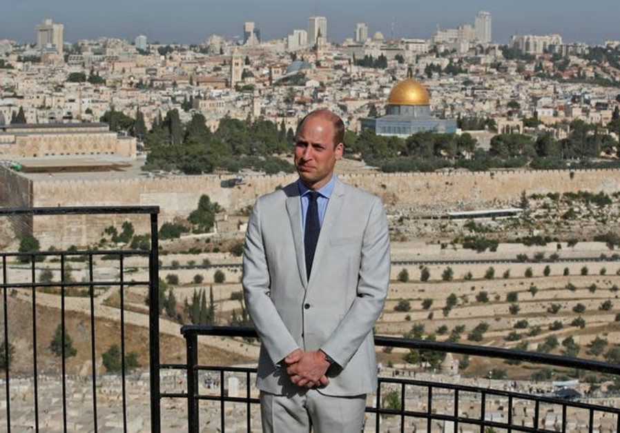Britain's Prince William visits an observation point on Mount of Olives